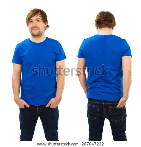 Photo of a man wearing blank blue t-shirt, front and back. Ready for your design or artwork. - stock photo