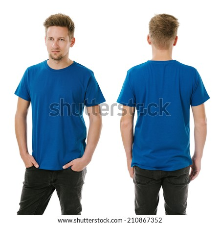Photo of a man wearing blank royal blue t-shirt, front and back. Ready for your design or artwork. - stock photo