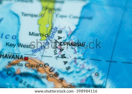Photo of a map of Bahamas and the capital Nassau . - stock photo