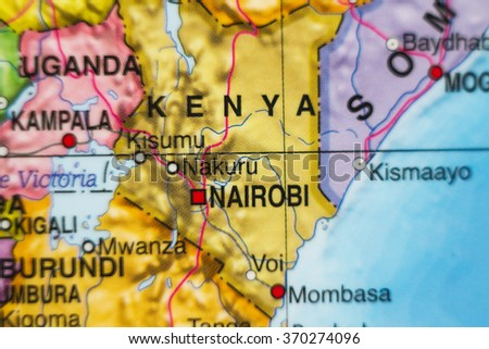 Photo of a map of Kenya and the capital Nairobi .