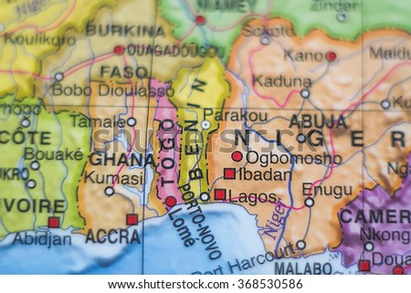 Photo of a map of Togo and the capital Lome .