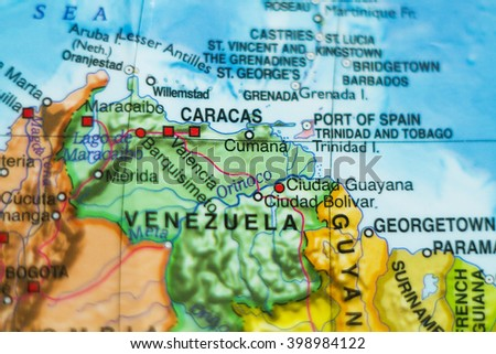 Photo of a map of Venezuela and the capital Caracas . - stock photo