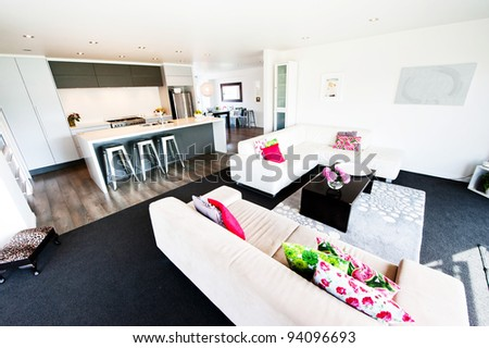 Photo of a modern interior designer living room - stock photo