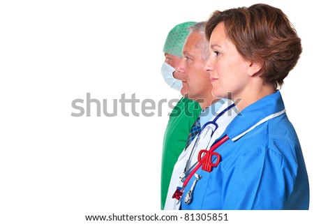 Photo of a nurse, doctor and surgeon in profile isolated against a white background. - stock photo