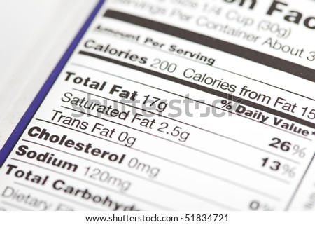 photo of a nutrition facts label with focus on the fat content - stock photo