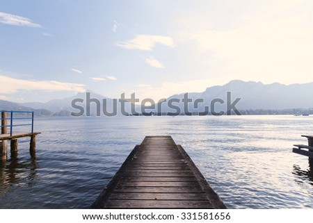 Photo of a pier on the shore - stock photo