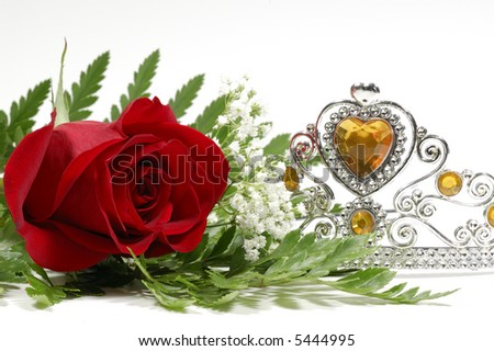 Photo of a Red Rose and Tiara Crown - Beauty Pageant Concept - stock photo