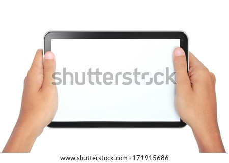 photo of a tablet held by two hands isolated on white background