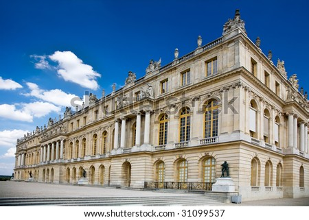 Photo of a wing of the Versailles Palace in Paris, France. - stock photo