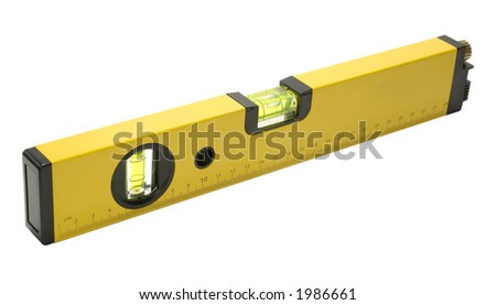 Photo of a Yellow Laser Level - Builders Tool - Isolated - stock photo