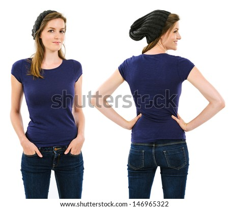 Photo of a young adult female with long hair posing with a blank purple shirt and beanie.  Front and back views ready for your artwork or designs.  - stock photo