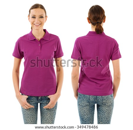 Photo of a young beautiful woman with blank purple polo shirt, front and back views. Ready for your design or artwork. - stock photo