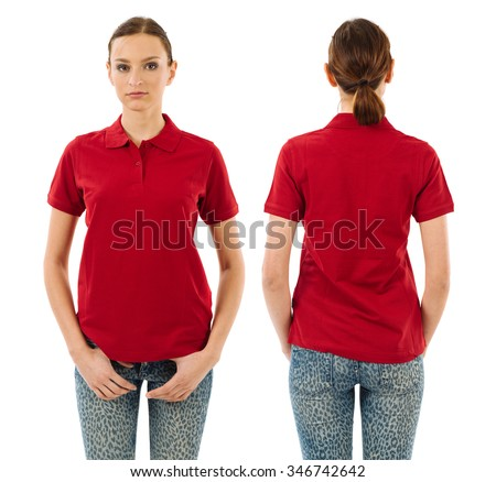 Photo of a young beautiful woman with blank red polo shirt, front and back views. Ready for your design or artwork. - stock photo