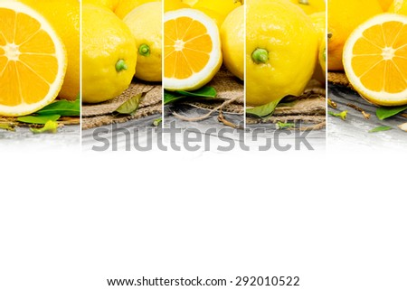 Photo of abstract lemon mix with white space for text - stock photo