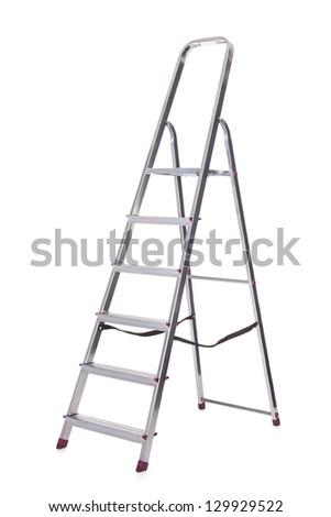 Photo of aluminum ladder. Isolated on white - stock photo