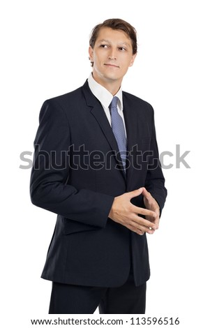 Photo of an attractive businessman thinking while looking off in the distance over a white background. - stock photo