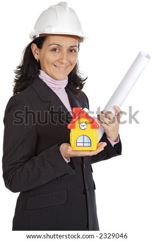 Photo of an attractive lady architect a over white background