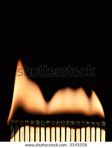 Photo of an burning matches on black - stock photo