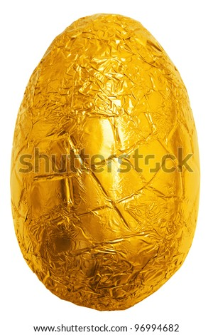Photo of an easter egg wrapped in gold foil isolated on a plain white background with clipping path. - stock photo