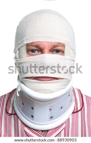 Photo of an injured man with a head bandage and Cervical neck collar, isolated on a white background. - stock photo