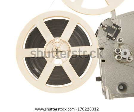 photo of an old movie projector isolated on white background  - stock photo