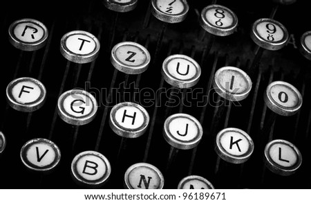 photo of antique typewriter keys - stock photo