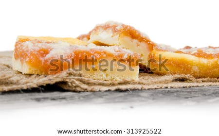 Photo of apple cakes on burlap with white space for text