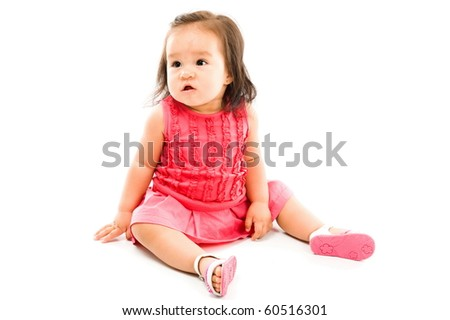 Photo of Asian baby on white background .