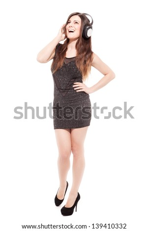 photo of attractive woman with headphones over white background