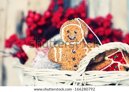 Photo of basket with christmas decorations - stock photo