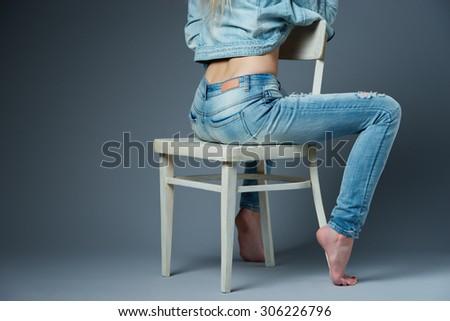 photo of beautiful blonde sexy girl studio portrait - stock photo