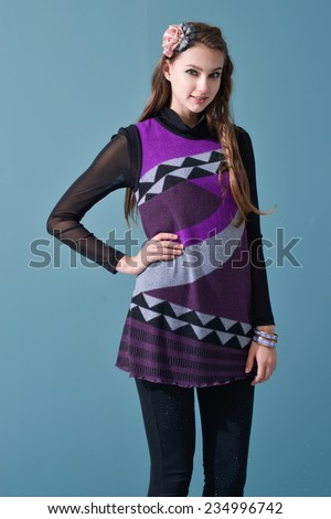 photo of beautiful girl is in fashion style-- Fashion model - stock photo