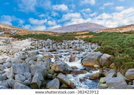 Photo of beautiful irish landscape in Wicklow mountains - stock photo