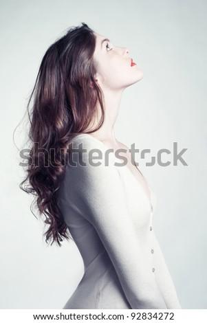 Photo of beautiful lady with long slim neck - stock photo