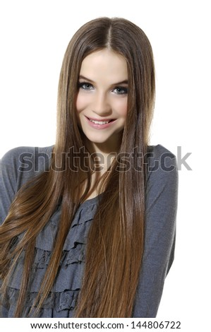 Photo of beautiful woman with long hair