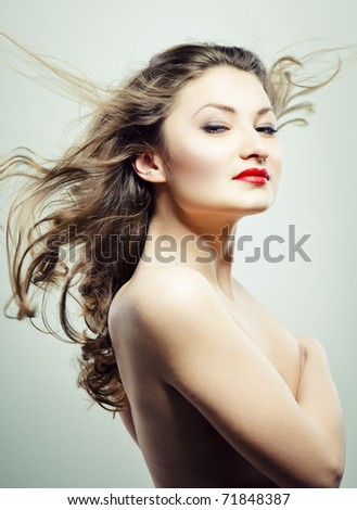 Photo nude beautiful woman red lipstick stock photo for Adiva beauty salon