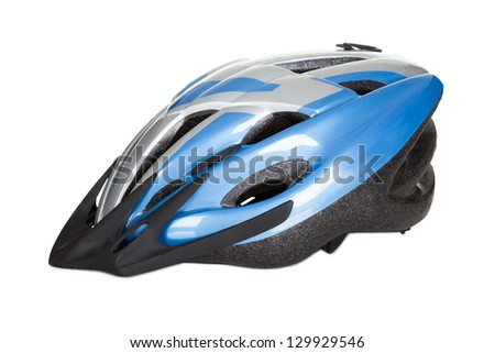 Photo of bicycle helmet. Isolated on white background - stock photo