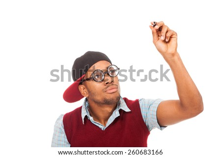 Photo of black guy nerd with pen in his hands over white isolated background - stock photo