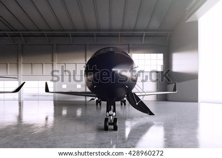 Photo of Black Matte Luxury Generic Design Private Jet parking in hangar airport. Concrete floor. Business Travel Picture. Horizontal, front view. Film Effect. 3D rendering