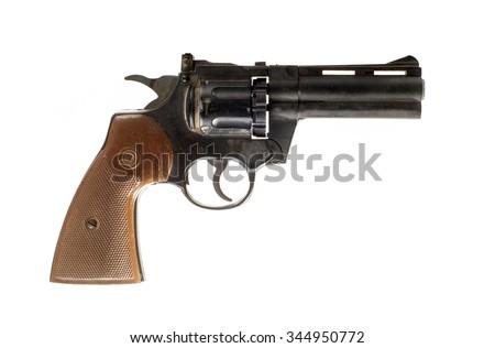 Photo of  black revolver isolated on white background - stock photo