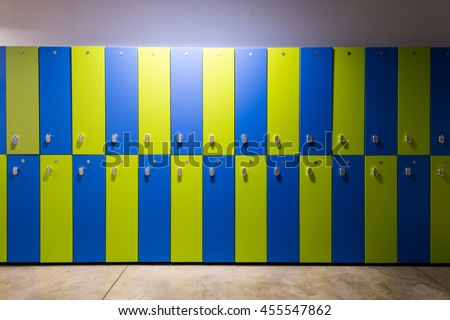 Photo Of Blue and green Lockers In The gym - stock photo