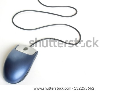 Photo of Blue mouse on the left - stock photo