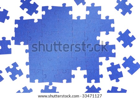Photo of blue puzzle - stock photo