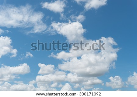 Photo of blue sky with clouds near the ocean