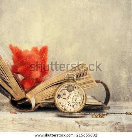 Photo of book and dried leaf - stock photo