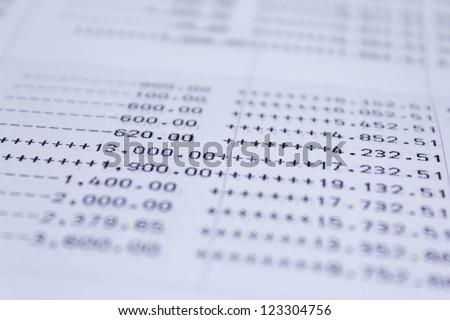 Photo of book bank statement money - stock photo