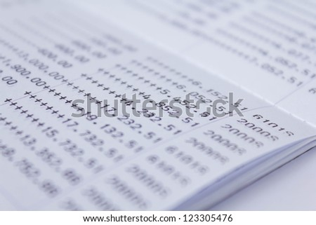 Photo of book bank statement money - stock photo