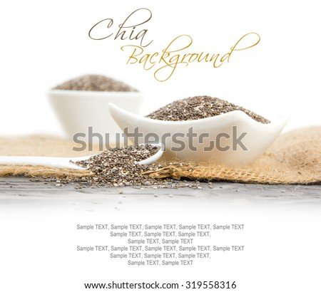 Photo of bowls full of chia seeds on burlap with white space