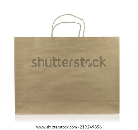 photo of brown paper bag isolated on white background