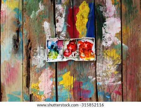Photo of  brushes on watercolors - stock photo